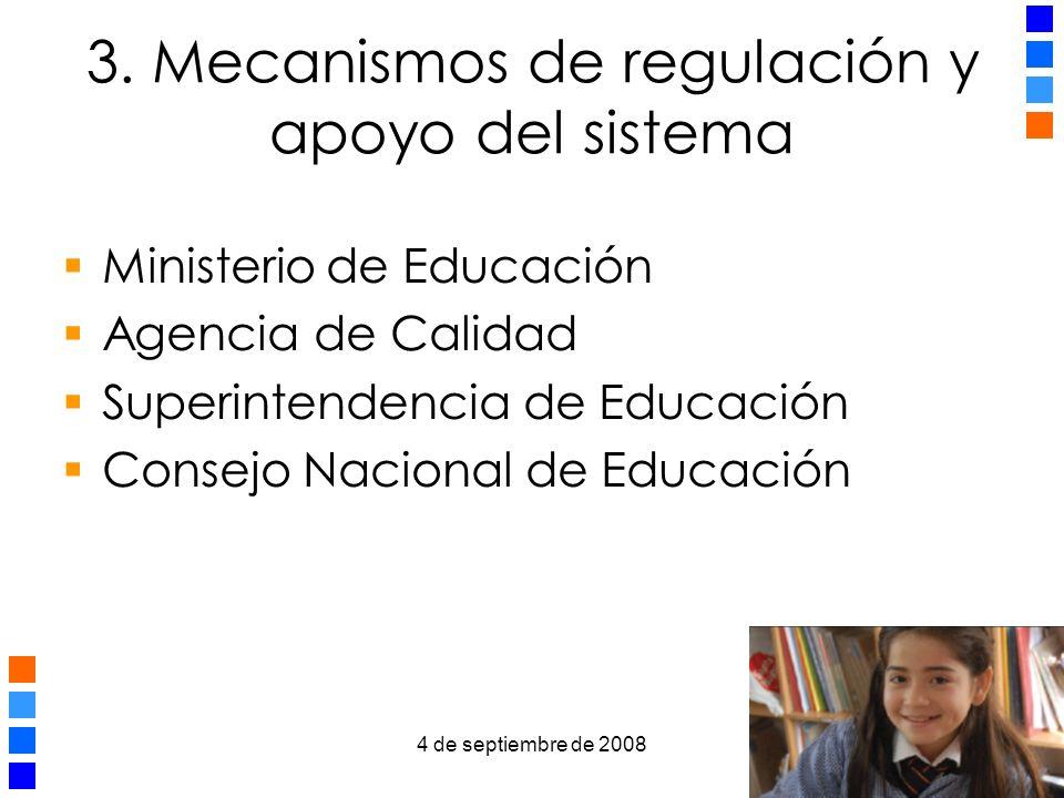 4 de septiembre de 2008 8 3.1 Ministerio de Educación Define normativa educacional Elabora el curriculum y estándares.
