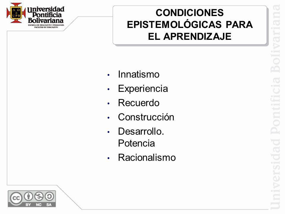CONDICIONES EPISTEMOLÓGICAS PARA EL APRENDIZAJE Innatismo Experiencia Recuerdo Construcción Desarrollo. Potencia Racionalismo