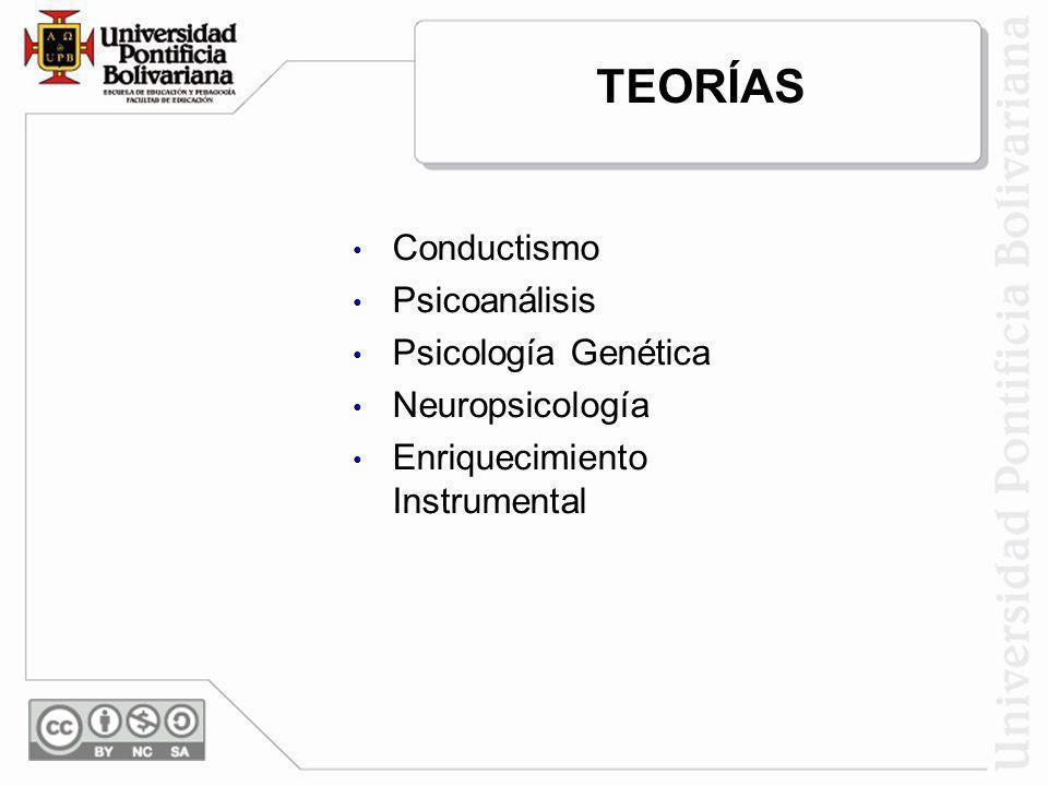 TEORÍAS Conductismo Psicoanálisis Psicología Genética Neuropsicología Enriquecimiento Instrumental