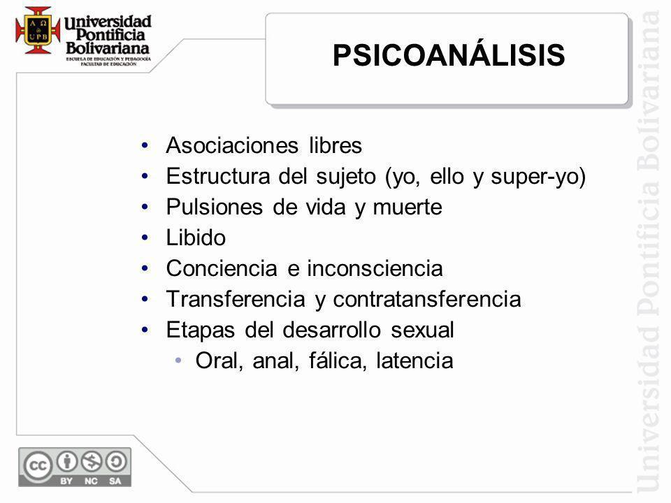 PSICOANÁLISIS Asociaciones libres Estructura del sujeto (yo, ello y super-yo) Pulsiones de vida y muerte Libido Conciencia e inconsciencia Transferenc