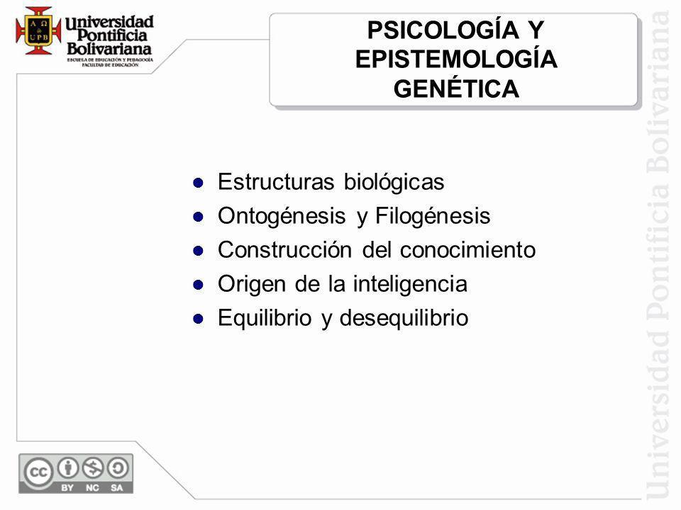 PSICOLOGÍA Y EPISTEMOLOGÍA GENÉTICA Estructuras biológicas Ontogénesis y Filogénesis Construcción del conocimiento Origen de la inteligencia Equilibri