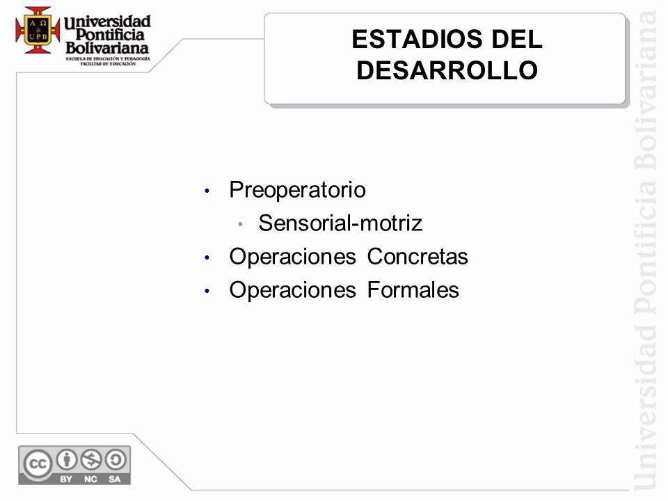 ESTADIOS DEL DESARROLLO Preoperatorio Sensorial-motriz Operaciones Concretas Operaciones Formales