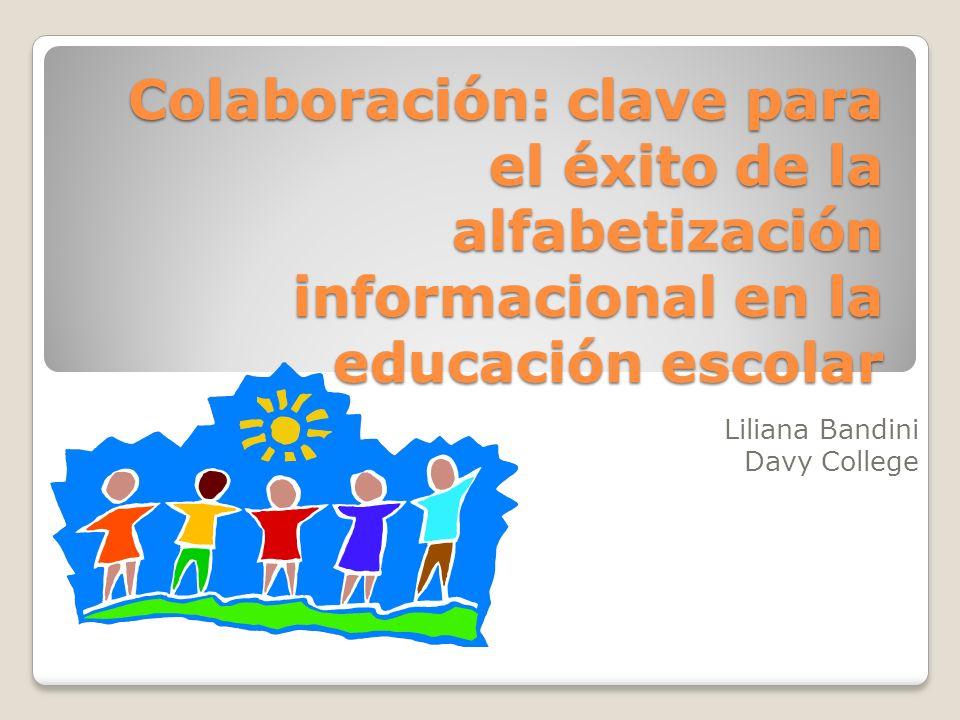Colaboración Colaboración es la interacción entre los bibliotecarios con los profesores, directores y estudiantes para alcanzar las mismas metas.