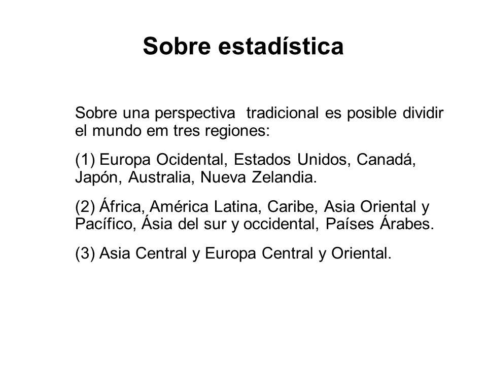 Sobre estadística Sobre una perspectiva tradicional es posible dividir el mundo em tres regiones: (1) Europa Ocidental, Estados Unidos, Canadá, Japón,