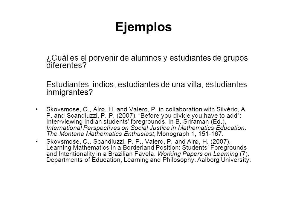 Ejemplos ¿Cuál es el porvenir de alumnos y estudiantes de grupos diferentes? Estudiantes indios, estudiantes de una villa, estudiantes inmigrantes? Sk