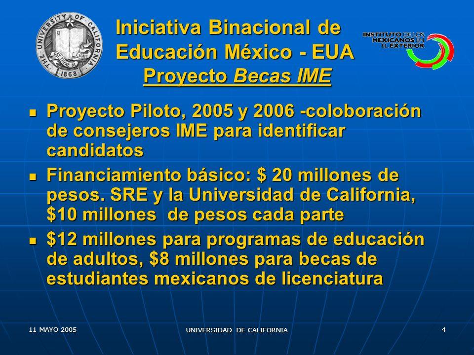 11 MAYO 2005 UNIVERSIDAD DE CALIFORNIA 4 Proyecto Piloto, 2005 y 2006 -coloboración de consejeros IME para identificar candidatos Proyecto Piloto, 2005 y 2006 -coloboración de consejeros IME para identificar candidatos Financiamiento básico: $ 20 millones de pesos.