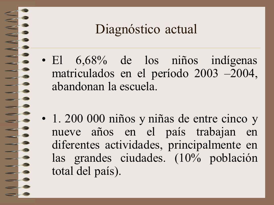 Diagnóstico actual El 6,68% de los niños indígenas matriculados en el período 2003 –2004, abandonan la escuela. 1. 200 000 niños y niñas de entre cinc