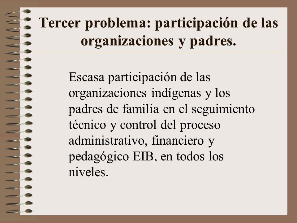 Tercer problema: participación de las organizaciones y padres. Escasa participación de las organizaciones indígenas y los padres de familia en el segu