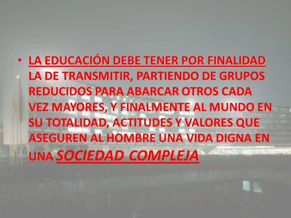 LA EDUCACIÓN DEBE TENER POR FINALIDAD LA EDUCACIÓN DEBE TENER POR FINALIDAD LA DE TRANSMITIR, PARTIENDO DE GRUPOS REDUCIDOS PARA ABARCAR OTROS CADA VE