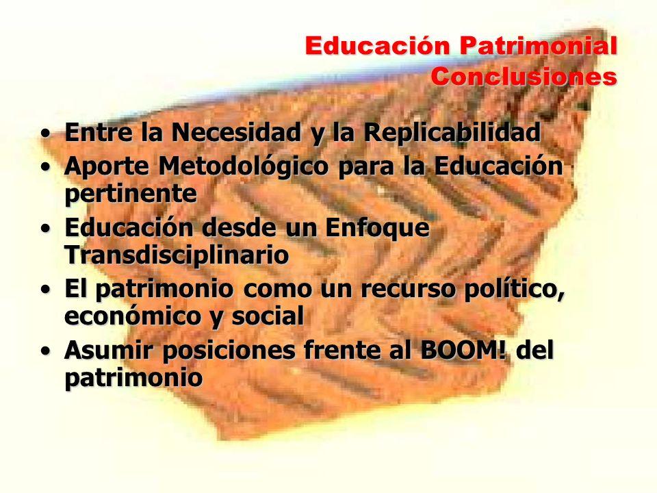 Educación Patrimonial Conclusiones Entre la Necesidad y la ReplicabilidadEntre la Necesidad y la Replicabilidad Aporte Metodológico para la Educación
