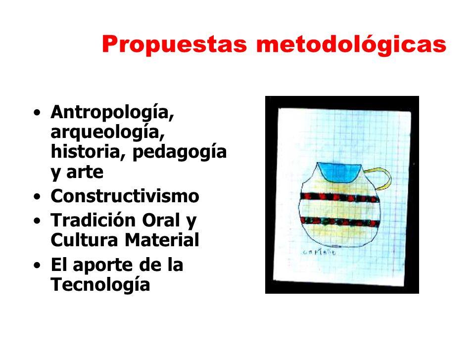 Propuestas metodológicas Antropología, arqueología, historia, pedagogía y arte Constructivismo Tradición Oral y Cultura Material El aporte de la Tecno