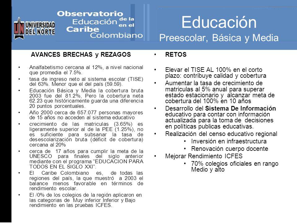 Educación Preescolar, Básica y Media AVANCES BRECHAS y REZAGOS Analfabetismo cercana al 12%, a nivel nacional que promedia el 7.5%.