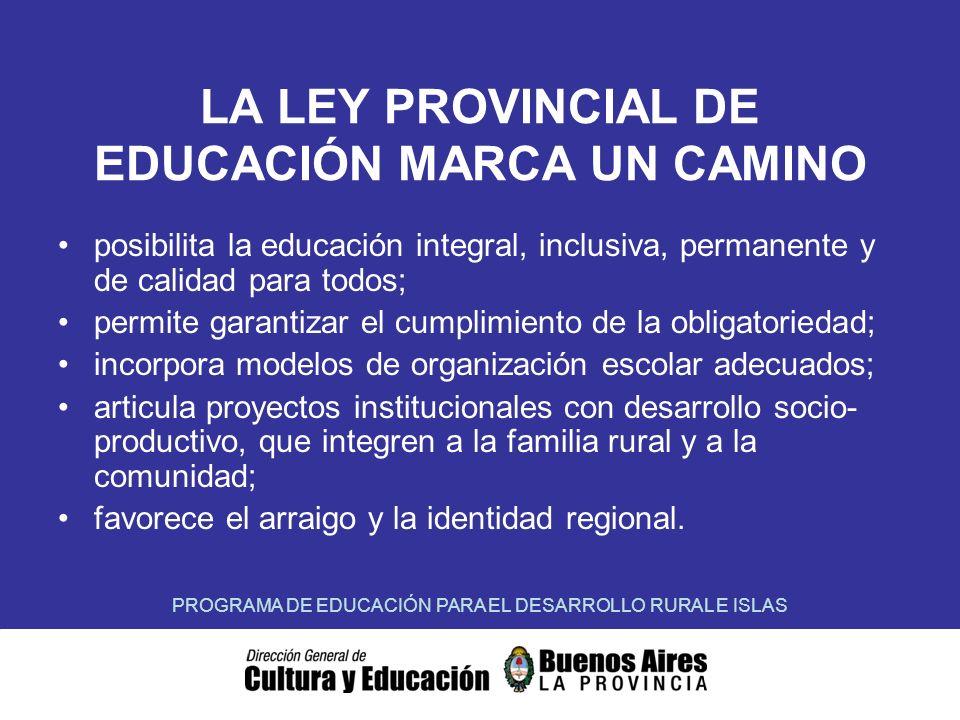 LA LEY PROVINCIAL DE EDUCACIÓN MARCA UN CAMINO posibilita la educación integral, inclusiva, permanente y de calidad para todos; permite garantizar el cumplimiento de la obligatoriedad; incorpora modelos de organización escolar adecuados; articula proyectos institucionales con desarrollo socio- productivo, que integren a la familia rural y a la comunidad; favorece el arraigo y la identidad regional.