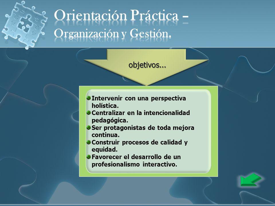 Intervenir con una perspectiva holística. Centralizar en la intencionalidad pedagógica. Ser protagonistas de toda mejora continua. Construir procesos