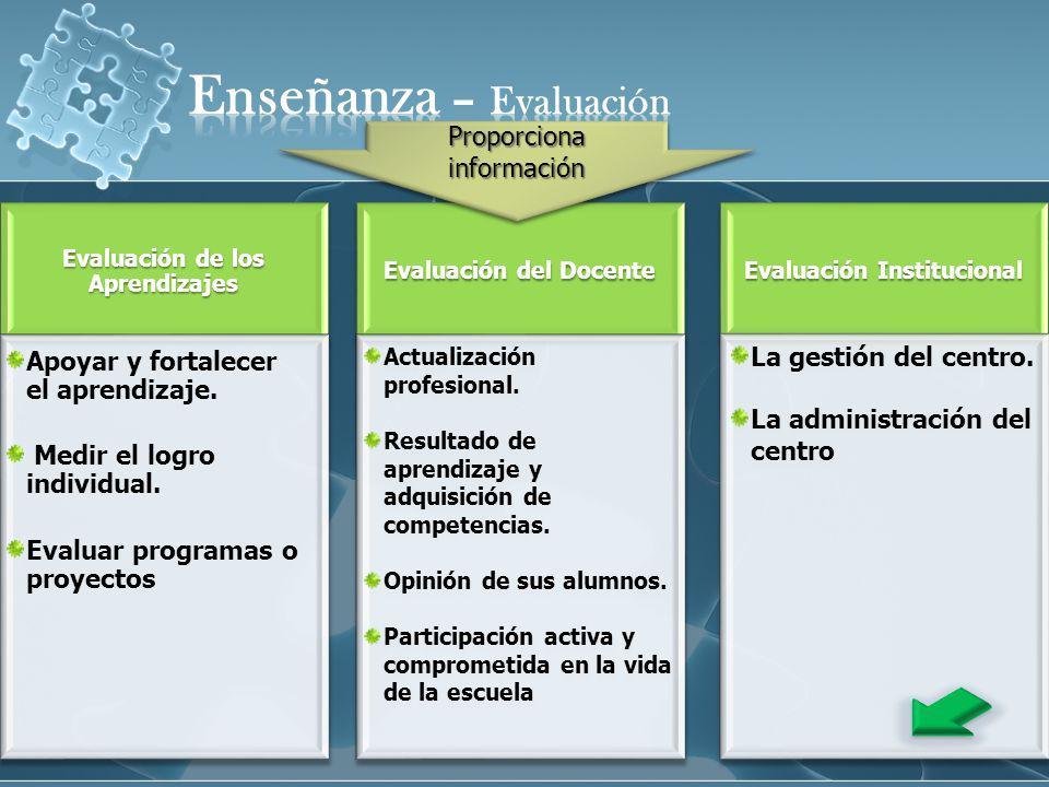 Evaluación de los Aprendizajes Evaluación del Docente Actualización profesional. Resultado de aprendizaje y adquisición de competencias. Opinión de su