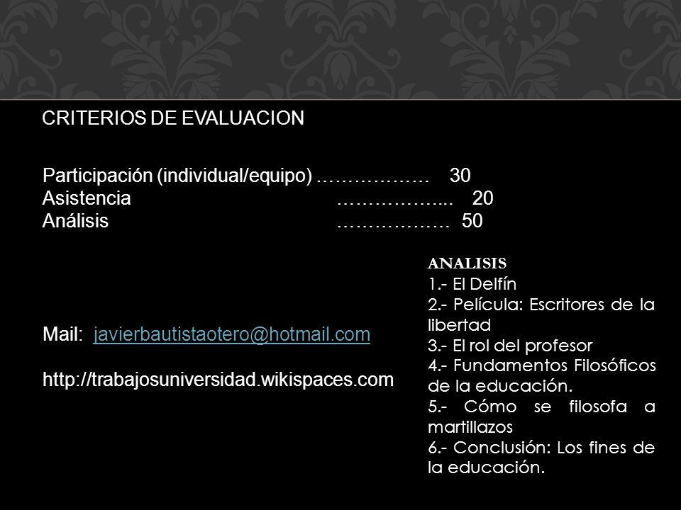 CRITERIOS DE EVALUACION Participación (individual/equipo) ……………… 30 Asistencia …………….... 20 Análisis ……………… 50 Mail: javierbautistaotero@hotmail.comja