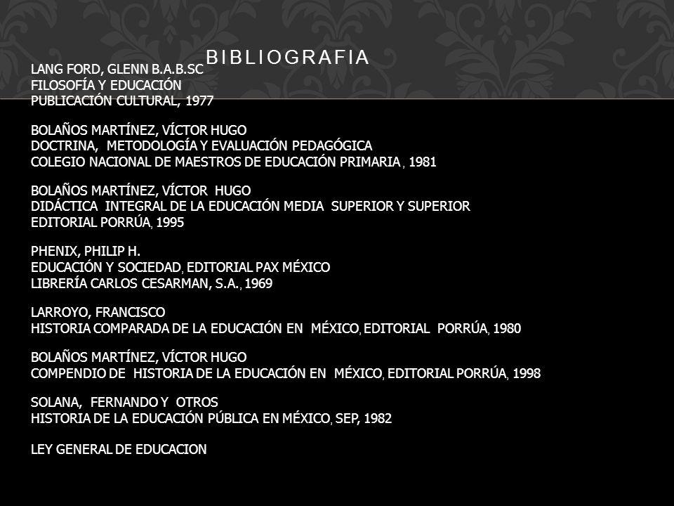 LANG FORD, GLENN B.A.B.SC FILOSOFÍA Y EDUCACIÓN PUBLICACIÓN CULTURAL, 1977 BOLAÑOS MARTÍNEZ, VÍCTOR HUGO DOCTRINA, METODOLOGÍA Y EVALUACIÓN PEDAGÓGICA