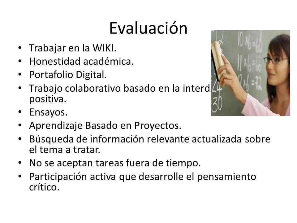 Evaluación Trabajar en la WIKI. Honestidad académica. Portafolio Digital. Trabajo colaborativo basado en la interdependencia positiva. Ensayos. Aprend