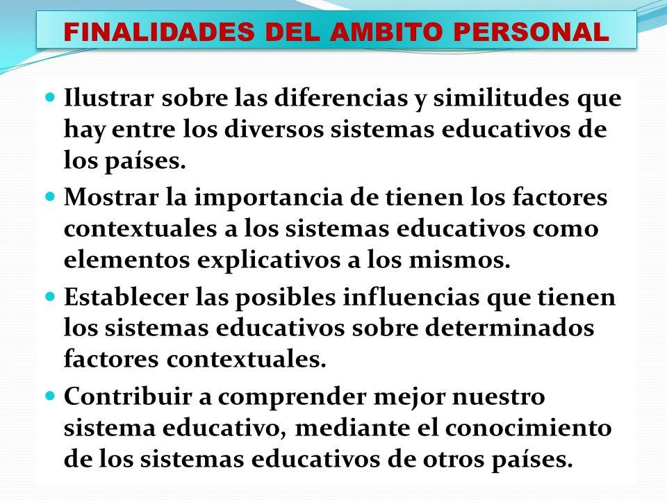 FINALIDADES DEL AMBITO PERSONAL Ilustrar sobre las diferencias y similitudes que hay entre los diversos sistemas educativos de los países. Mostrar la