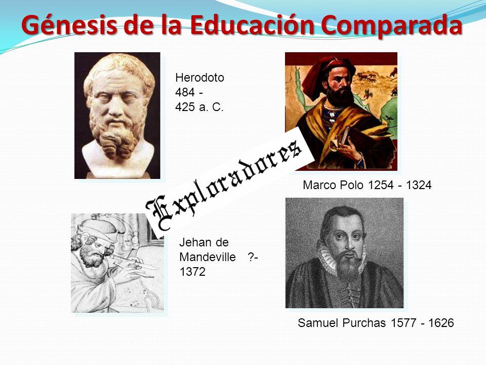 Marco Polo 1254 - 1324 Herodoto 484 - 425 a. C. Samuel Purchas 1577 - 1626 Jehan de Mandeville ?- 1372 Génesis de la Educación Comparada
