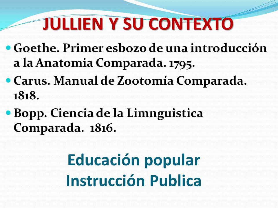 Educación popular Instrucción Publica Goethe. Primer esbozo de una introducción a la Anatomia Comparada. 1795. Carus. Manual de Zootomía Comparada. 18