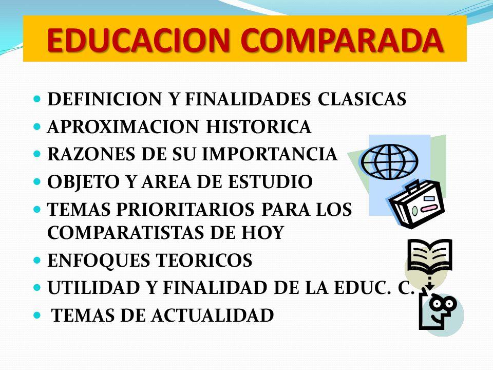 EDUCACION COMPARADA DEFINICION Y FINALIDADES CLASICAS APROXIMACION HISTORICA RAZONES DE SU IMPORTANCIA OBJETO Y AREA DE ESTUDIO TEMAS PRIORITARIOS PAR