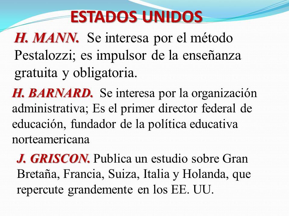 ESTADOS UNIDOS H. MANN. H. MANN. Se interesa por el método Pestalozzi; es impulsor de la enseñanza gratuita y obligatoria. H. BARNARD. H. BARNARD. Se