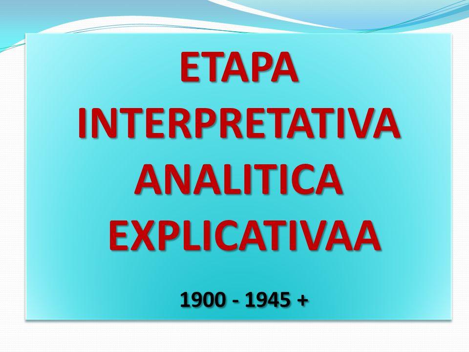 ETAPA INTERPRETATIVA ANALITICA EXPLICATIVAA EXPLICATIVAA 1900 - 1945 + 1900 - 1945 + ETAPA INTERPRETATIVA ANALITICA EXPLICATIVAA EXPLICATIVAA 1900 - 1