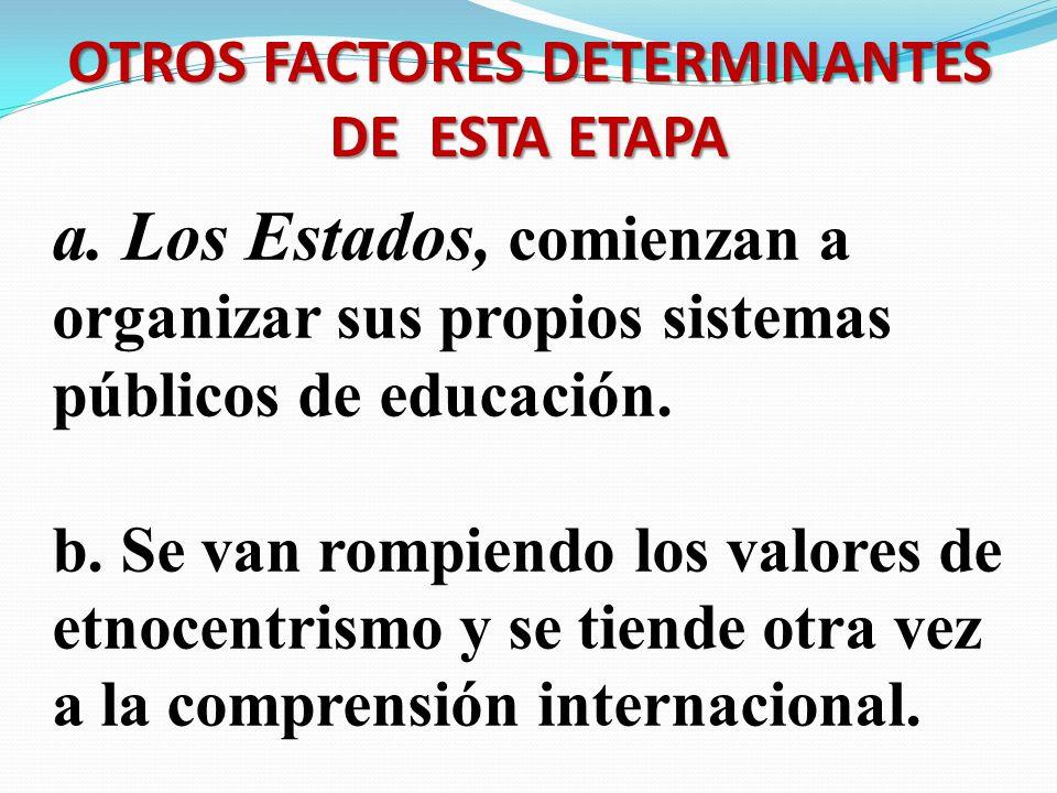 OTROS FACTORES DETERMINANTES DE ESTA ETAPA a. Los Estados, comienzan a organizar sus propios sistemas públicos de educación. b. Se van rompiendo los v