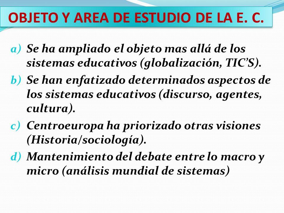 OBJETO Y AREA DE ESTUDIO DE LA E. C. a) Se ha ampliado el objeto mas allá de los sistemas educativos (globalización, TICS). b) Se han enfatizado deter