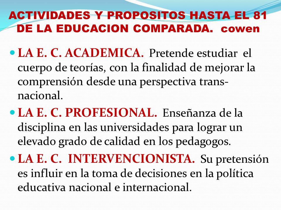 ACTIVIDADES Y PROPOSITOS HASTA EL 81 DE LA EDUCACION COMPARADA. cowen LA E. C. ACADEMICA. Pretende estudiar el cuerpo de teorías, con la finalidad de