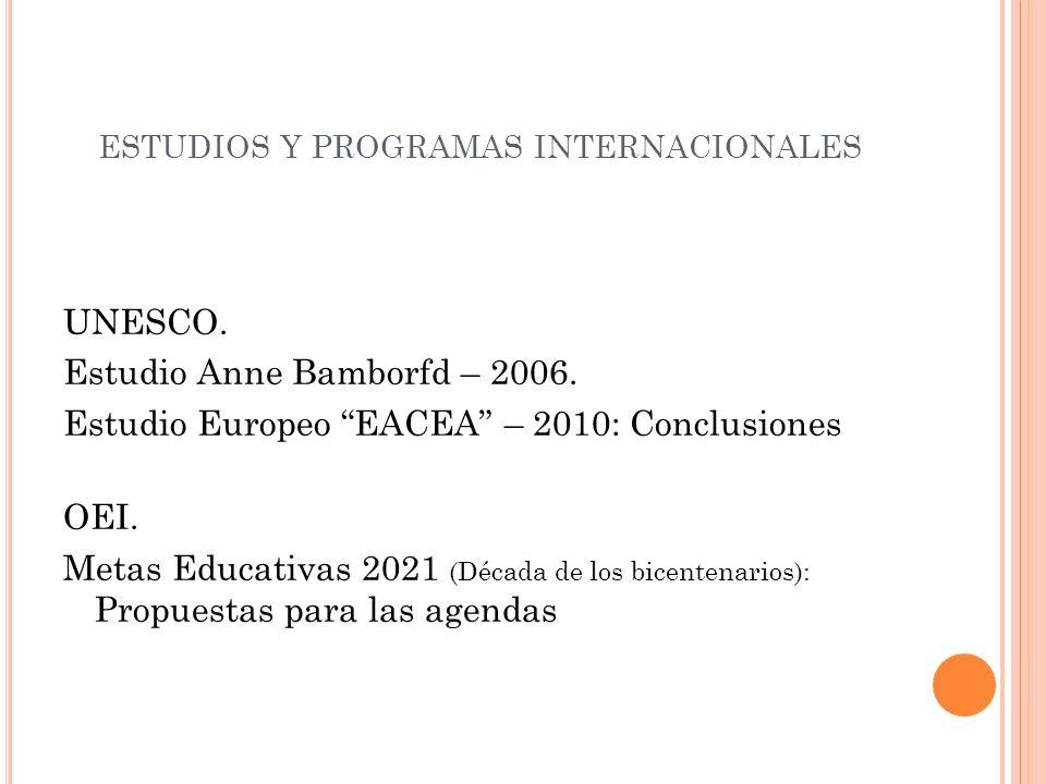 ESTUDIOS Y PROGRAMAS INTERNACIONALES UNESCO. Estudio Anne Bamborfd – 2006.