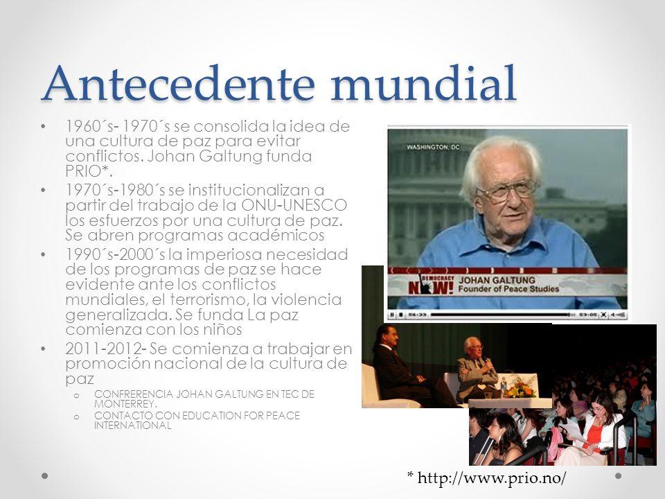 Antecedente mundial 1960´s- 1970´s se consolida la idea de una cultura de paz para evitar conflictos. Johan Galtung funda PRIO*. 1970´s-1980´s se inst