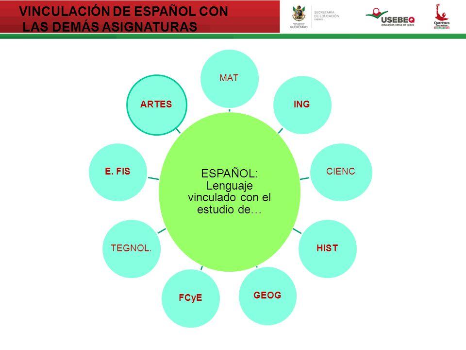 VINCULACIÓN DE ESPAÑOL CON LAS DEMÁS ASIGNATURAS ESPAÑOL: Lenguaje vinculado con el estudio de… MATINGCIENCHISTGEOGFCyETEGNOL.E.