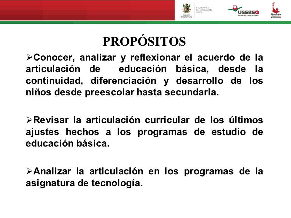 PROPÓSITOS Conocer, analizar y reflexionar el acuerdo de la articulación de educación básica, desde la continuidad, diferenciación y desarrollo de los