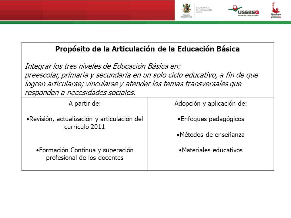 Propósito de la Articulación de la Educación Básica Integrar los tres niveles de Educación Básica en: preescolar, primaria y secundaria en un solo ciclo educativo, a fin de que logren articularse; vincularse y atender los temas transversales que responden a necesidades sociales.