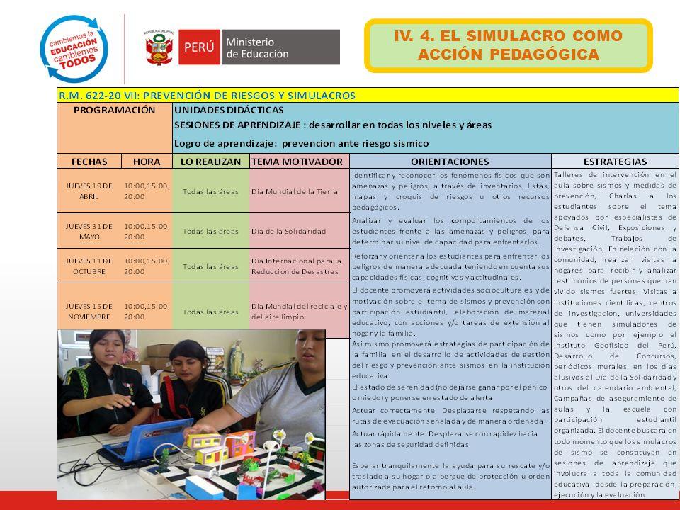 IV. 4. EL SIMULACRO COMO ACCIÓN PEDAGÓGICA