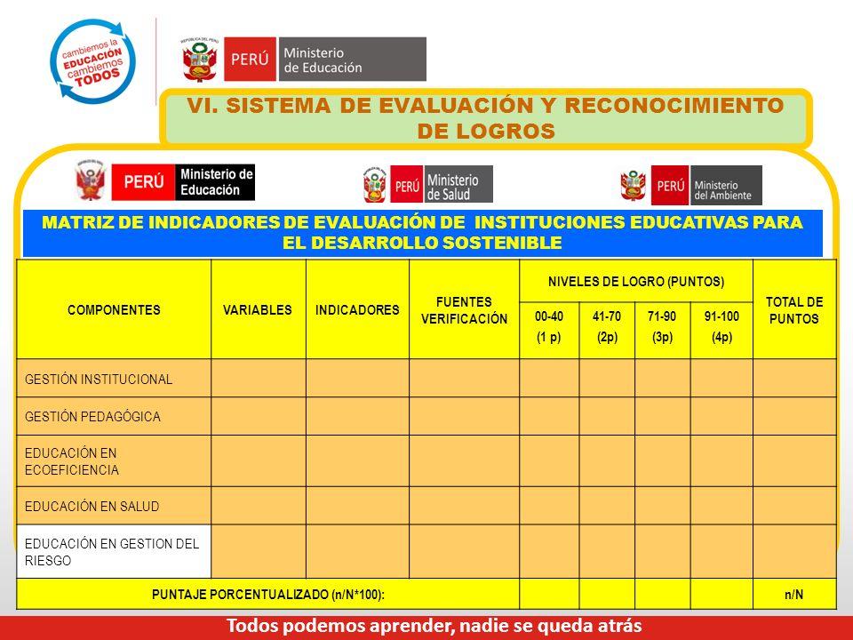 VI. SISTEMA DE EVALUACIÓN Y RECONOCIMIENTO DE LOGROS MATRIZ DE INDICADORES DE EVALUACIÓN DE INSTITUCIONES EDUCATIVAS PARA EL DESARROLLO SOSTENIBLE COM