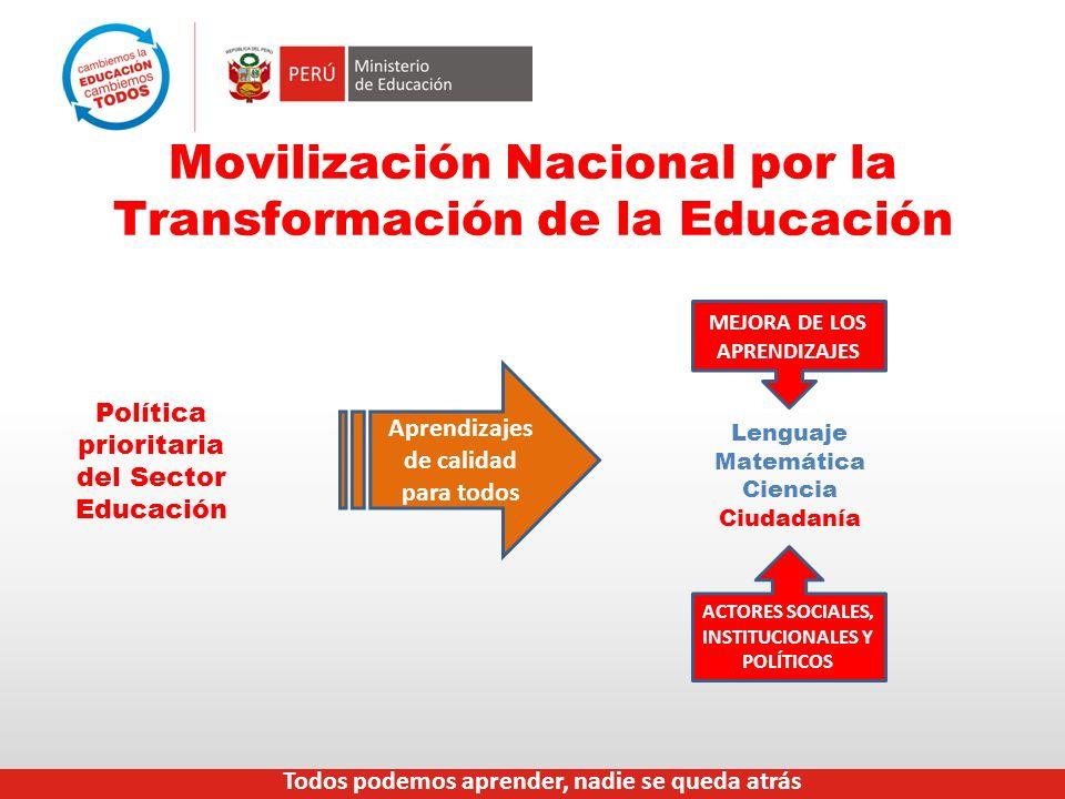 Movilización Nacional por la Transformación de la Educación Política prioritaria del Sector Educación Lenguaje Matemática Ciencia Ciudadanía MEJORA DE