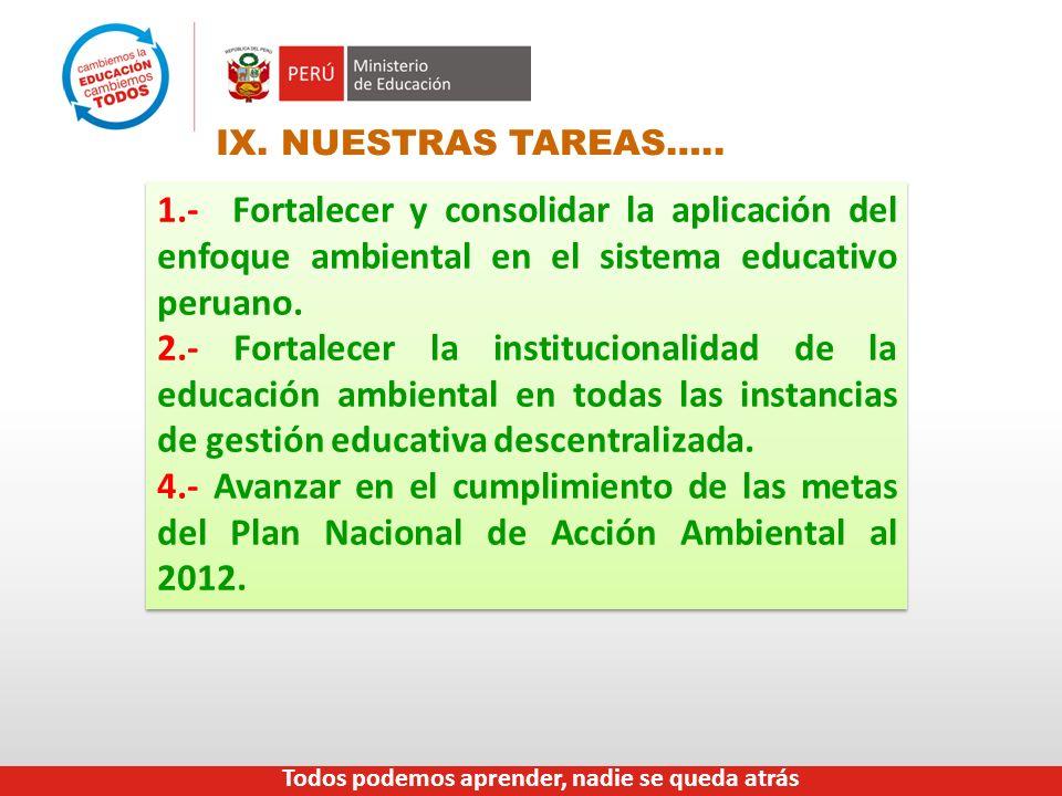 IX. NUESTRAS TAREAS….. 1.- Fortalecer y consolidar la aplicación del enfoque ambiental en el sistema educativo peruano. 2.- Fortalecer la instituciona