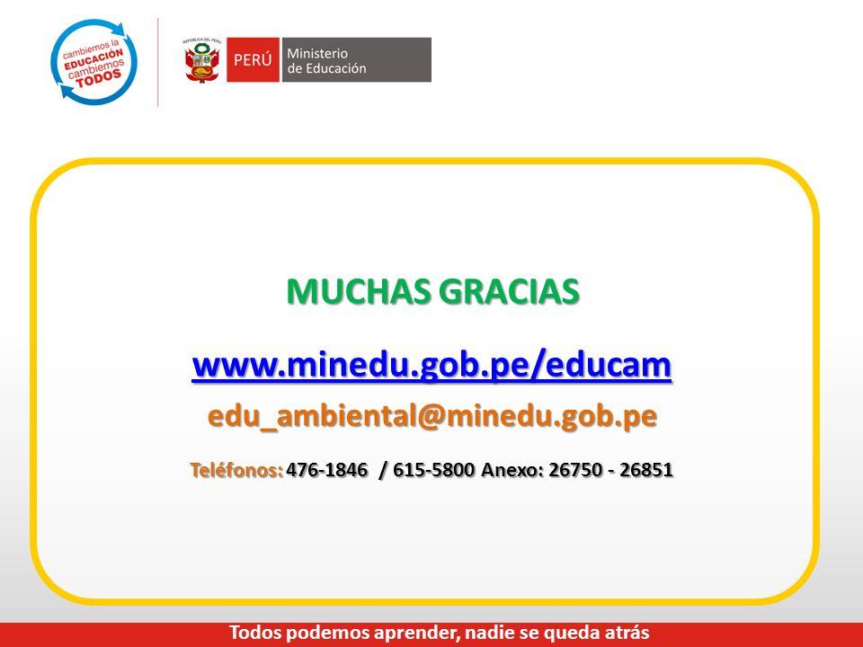 MUCHAS GRACIAS www.minedu.gob.pe/educam edu_ambiental@minedu.gob.pe Teléfonos: 476-1846 / 615-5800 Anexo: 26750 - 26851 Todos podemos aprender, nadie