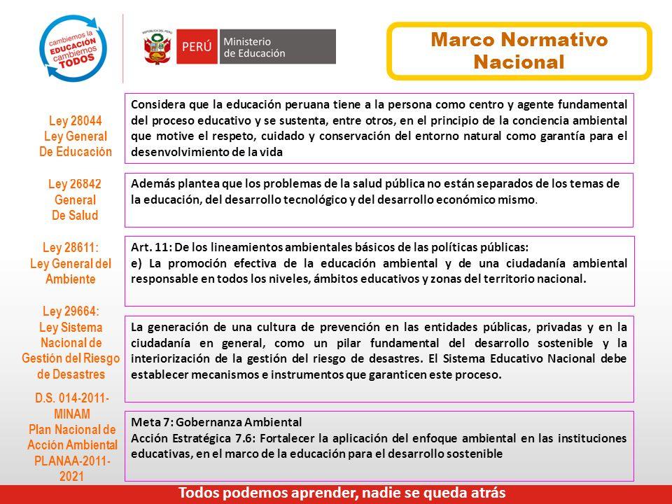 Marco Normativo Nacional Considera que la educación peruana tiene a la persona como centro y agente fundamental del proceso educativo y se sustenta, e