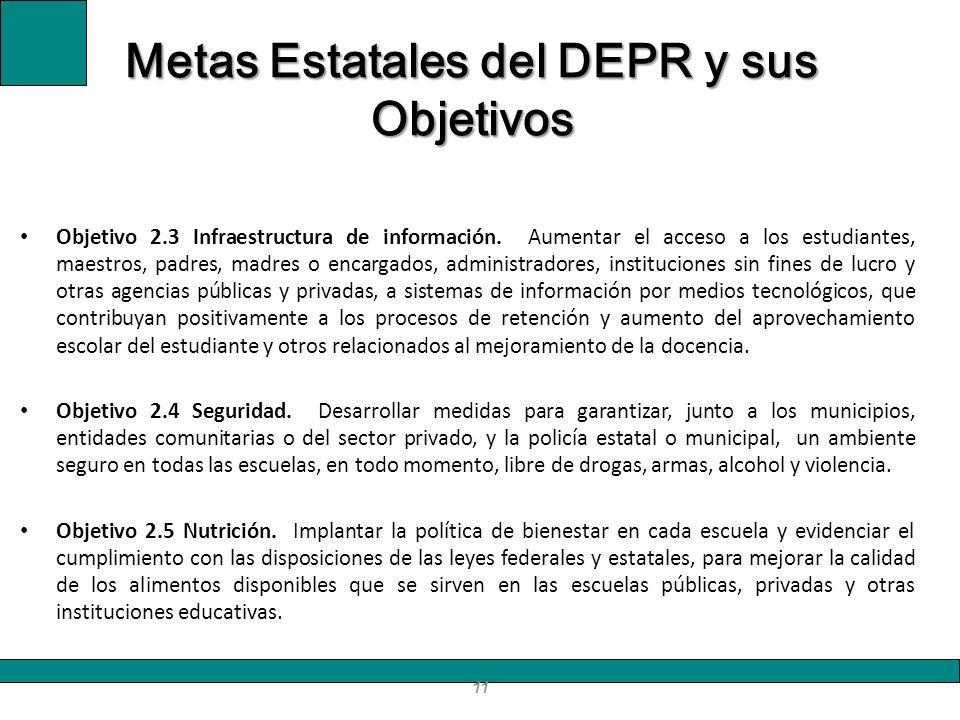 Objetivo 2.3 Infraestructura de información. Aumentar el acceso a los estudiantes, maestros, padres, madres o encargados, administradores, institucion