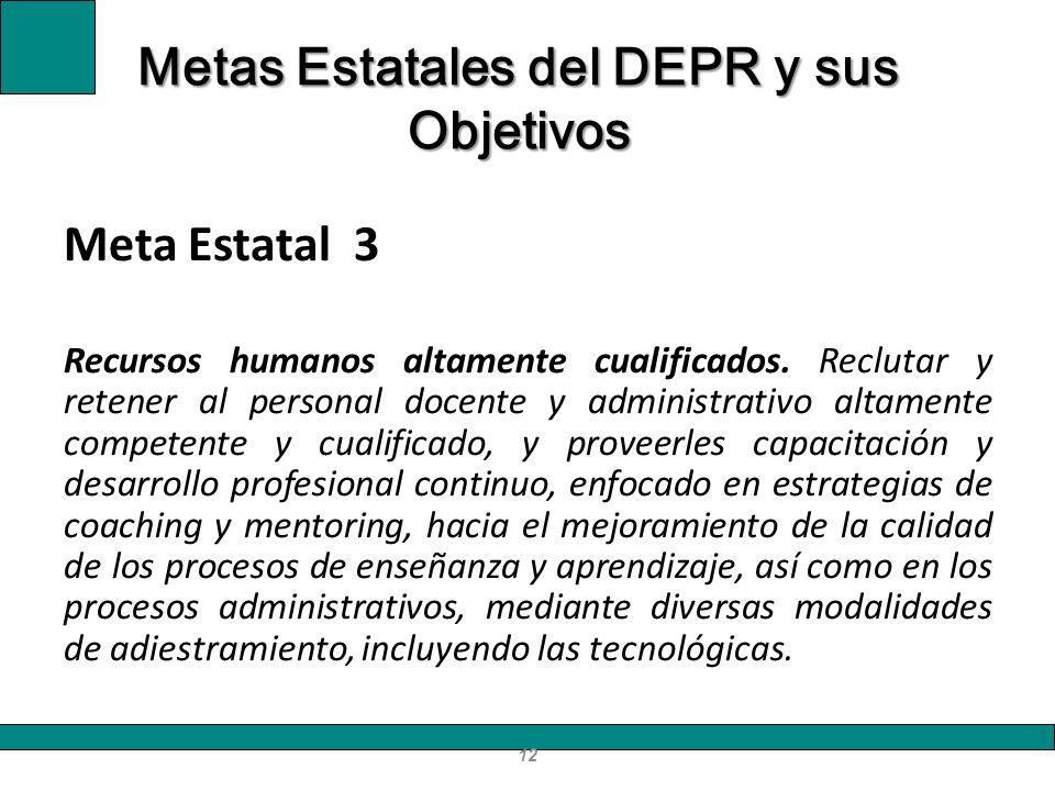 Meta Estatal 3 Recursos humanos altamente cualificados. Reclutar y retener al personal docente y administrativo altamente competente y cualificado, y