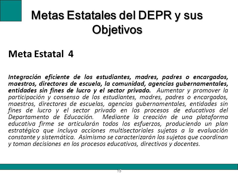 Meta Estatal 4 I ntegración eficiente de los estudiantes, madres, padres o encargados, maestros, directores de escuela, la comunidad, agencias guberna