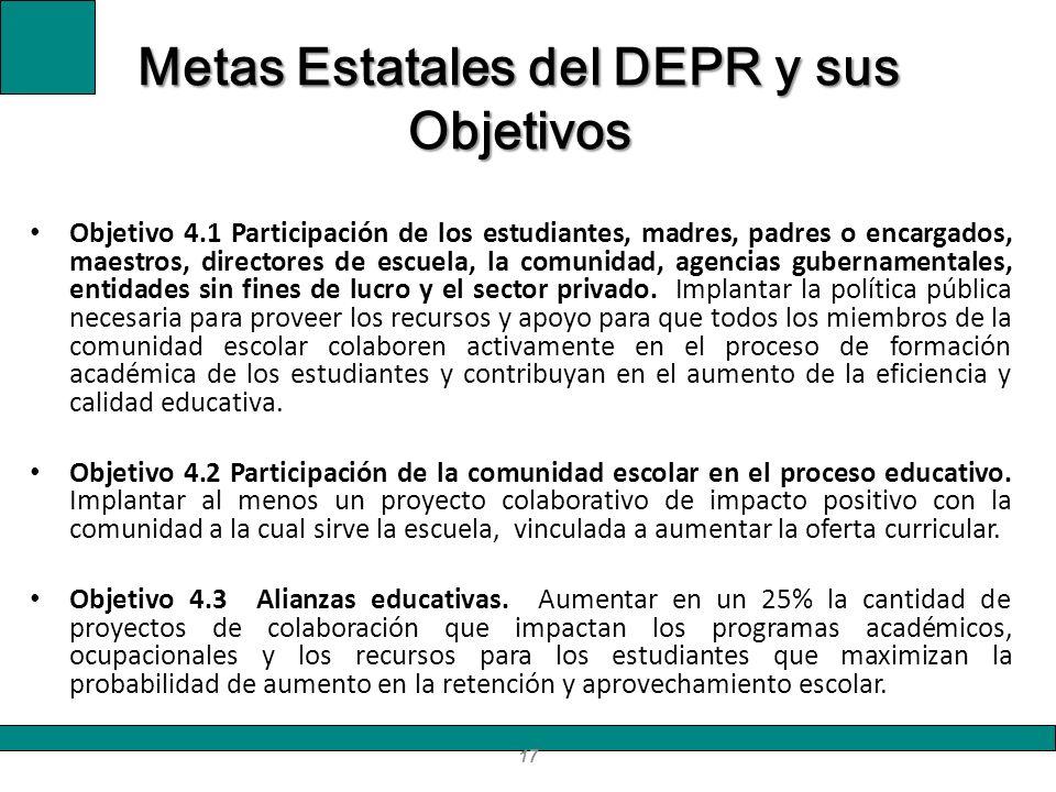17 Metas Estatales del DEPR y sus Objetivos Objetivo 4.1 Participación de los estudiantes, madres, padres o encargados, maestros, directores de escuel