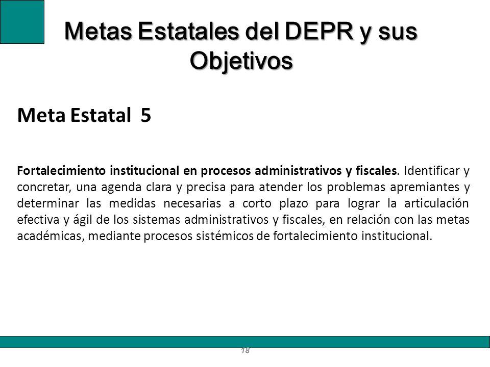 Meta Estatal 5 Fortalecimiento institucional en procesos administrativos y fiscales. Identificar y concretar, una agenda clara y precisa para atender