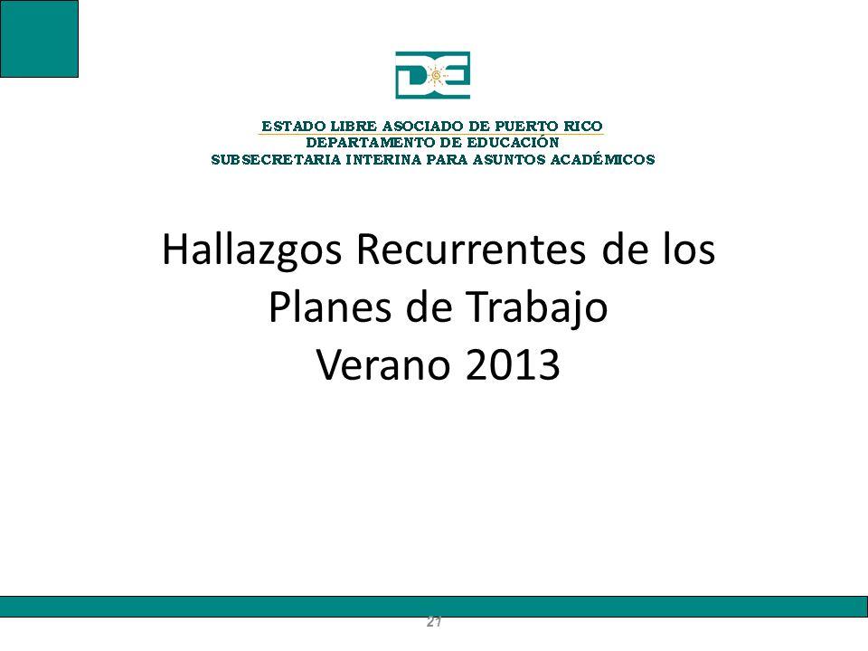 Hallazgos Recurrentes de los Planes de Trabajo Verano 2013 21