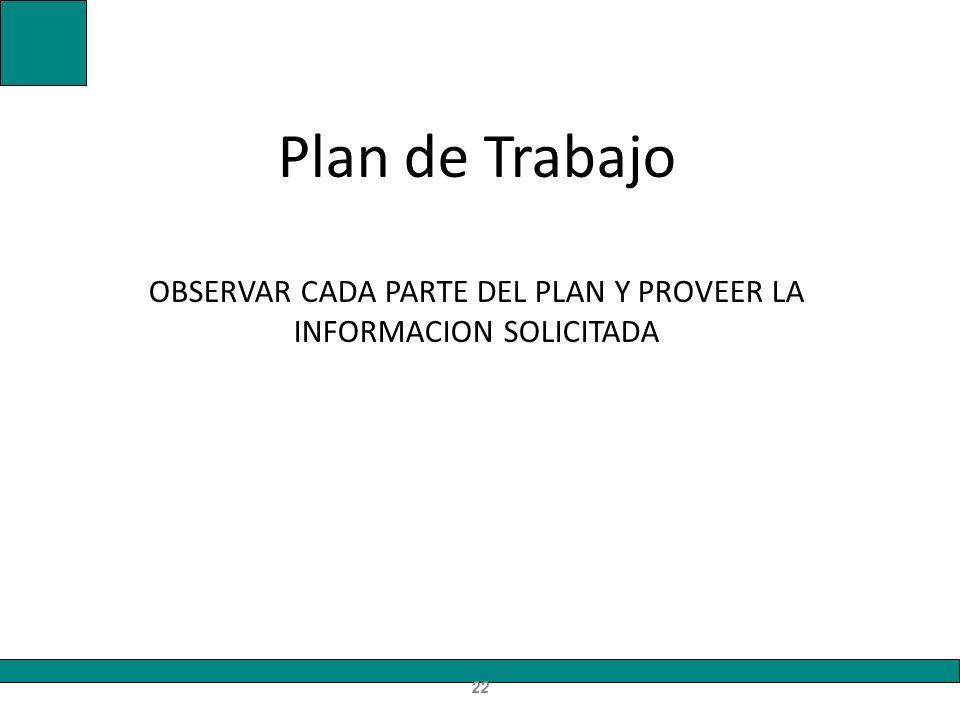 Plan de Trabajo OBSERVAR CADA PARTE DEL PLAN Y PROVEER LA INFORMACION SOLICITADA 22
