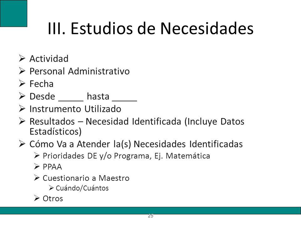 III. Estudios de Necesidades Actividad Personal Administrativo Fecha Desde _____ hasta _____ Instrumento Utilizado Resultados – Necesidad Identificada